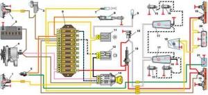Схема включения наружного освещения автомобиля Жигулей 2101