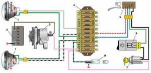 Схема включения фар автомобиля ВАЗ 2101