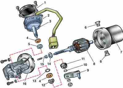 Схема разборки и сборки электродвигателя стеклоочистителя и редуктора