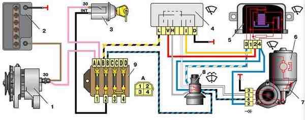 Схема включения стеклоочистителя