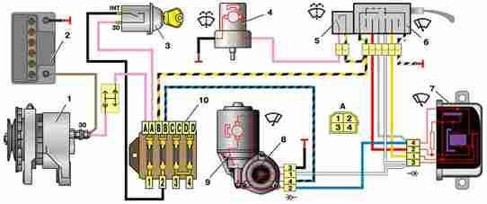 Схема включения стеклоочистителя ВАЗ 21011 и 21013
