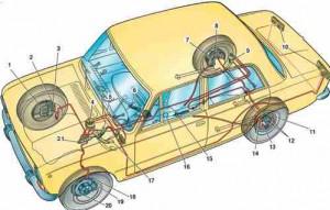 Схема тормозной системы автомобиля ВАЗ 2101